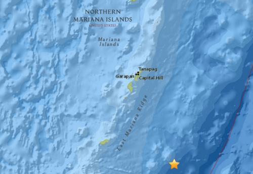 北马里亚纳群岛东南部海域发生5.4级地震