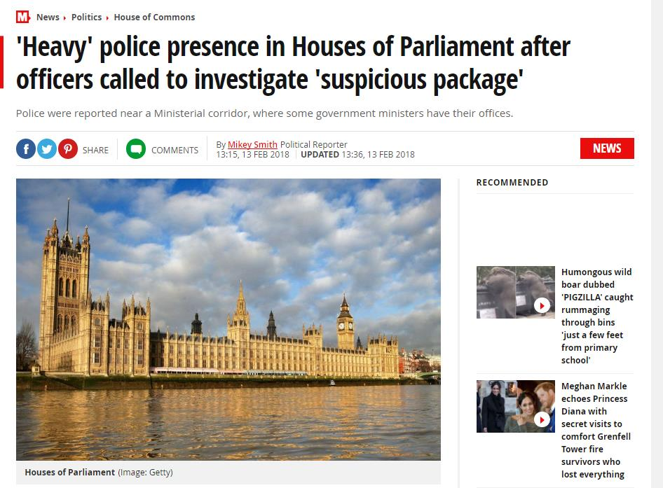英国议会大厦疑似发现可疑包裹 附近聚集大量警察