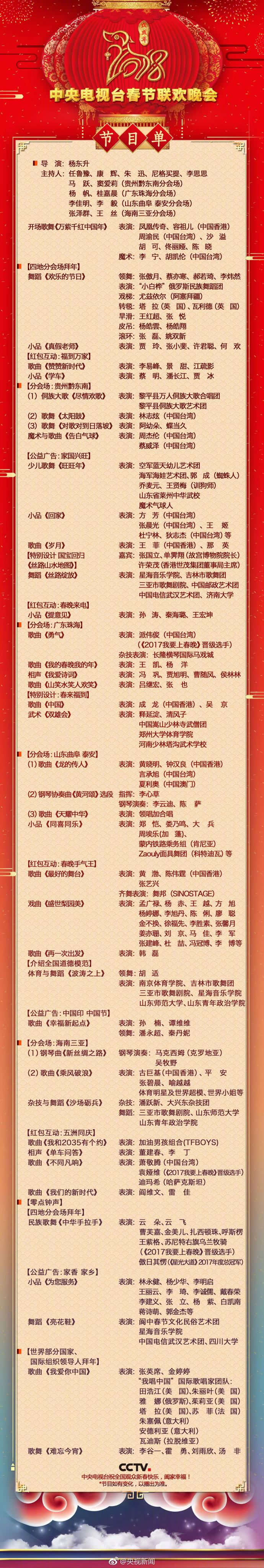 2018央视春晚节目单出炉:王菲那英再相约,《难忘今宵》还压轴!