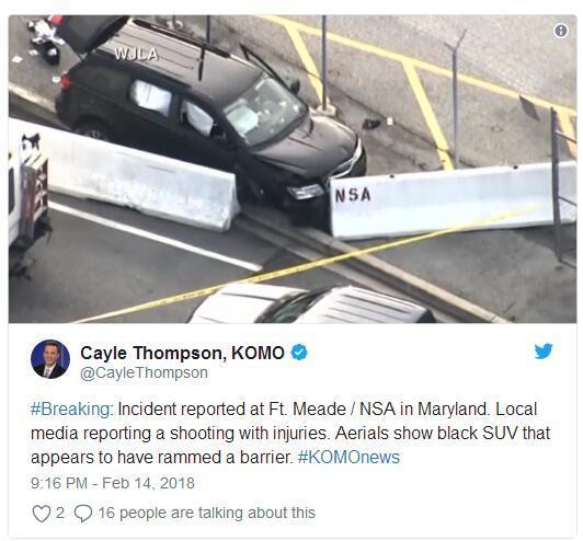 美国马里兰州国安局总部发生枪击 致3人受伤