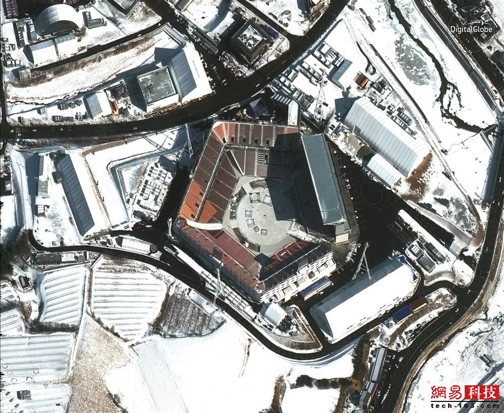 茫茫白雪寒冰 透过卫星看韩国冬奥会场馆