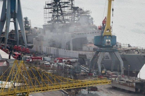 俄罗斯太平洋舰队一艘军舰起火 未造成人员伤亡
