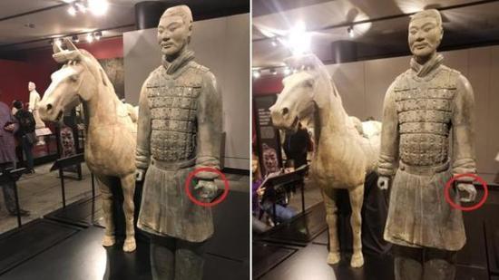 兵马俑美国展览却被掰断偷走手指:中方要求严惩