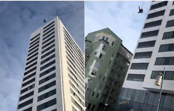 瑞典低空跳伞运动员24楼垂直落地竟奇迹生还