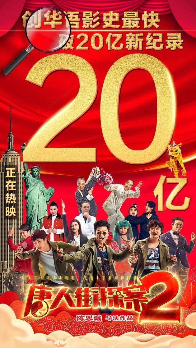 《唐探2》上映7天票房破20亿 刷新《战狼2》纪录