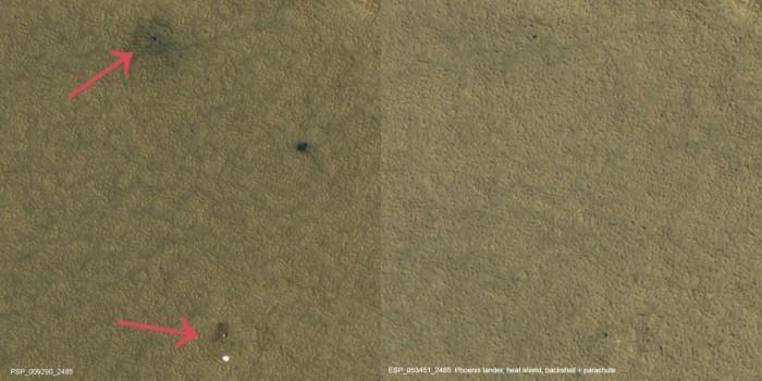 "NASA发现凤凰号火星着陆器布满灰尘的""坟墓"""