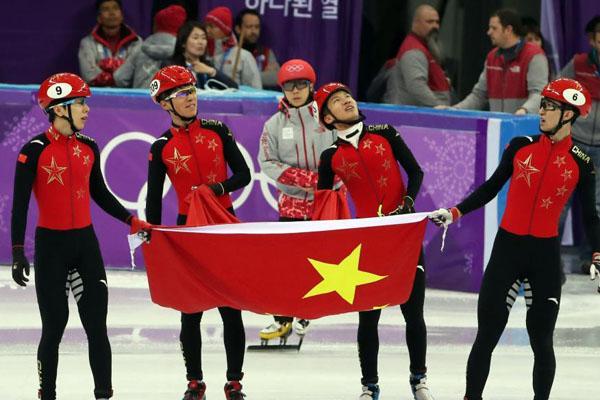 平昌冬奥会短道速滑男子5000米接力赛中国队夺得银牌
