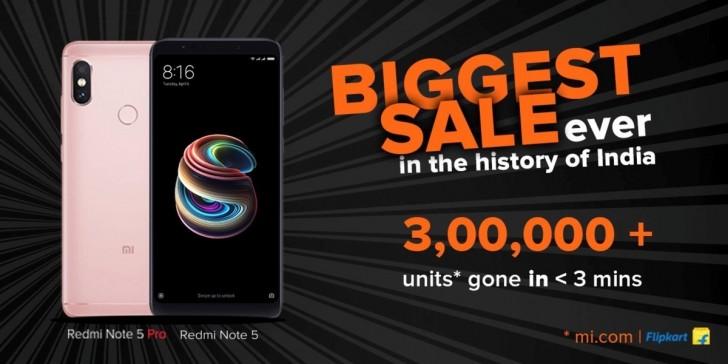 红米Note 5 Pro销售火爆 30多万部3分钟被抢空
