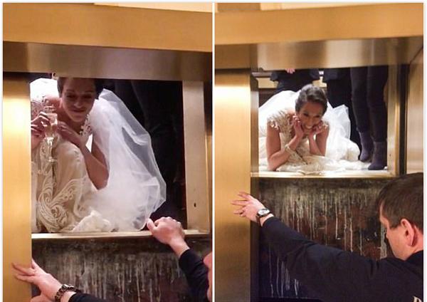 美新娘婚礼前被困电梯一小时 品香槟等待救援