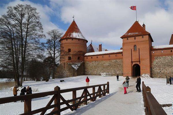 雪后立陶宛特拉凯城堡