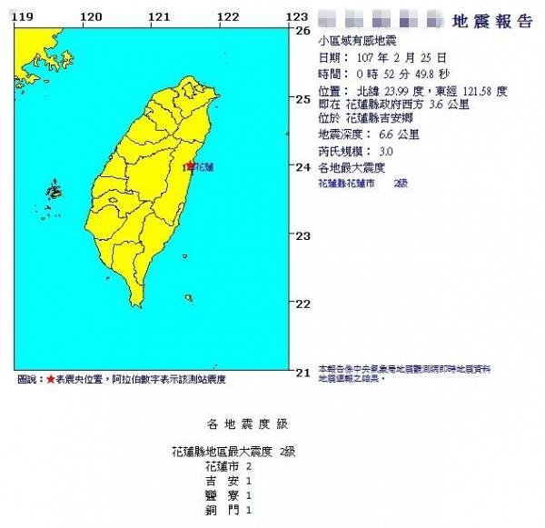 台湾今日凌晨连续发生3起地震 最大规模4.5级