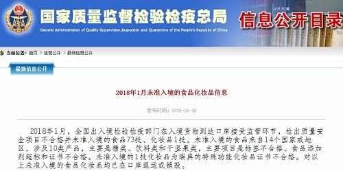 国家质检总局:2018年1月未准入境食品化妆品74批