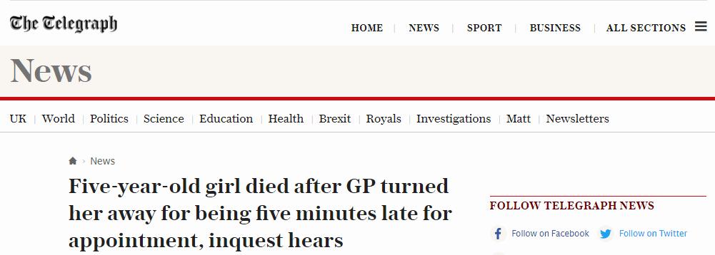 迟到10分钟遭医生拒诊 英5岁女童哮喘病发夭折