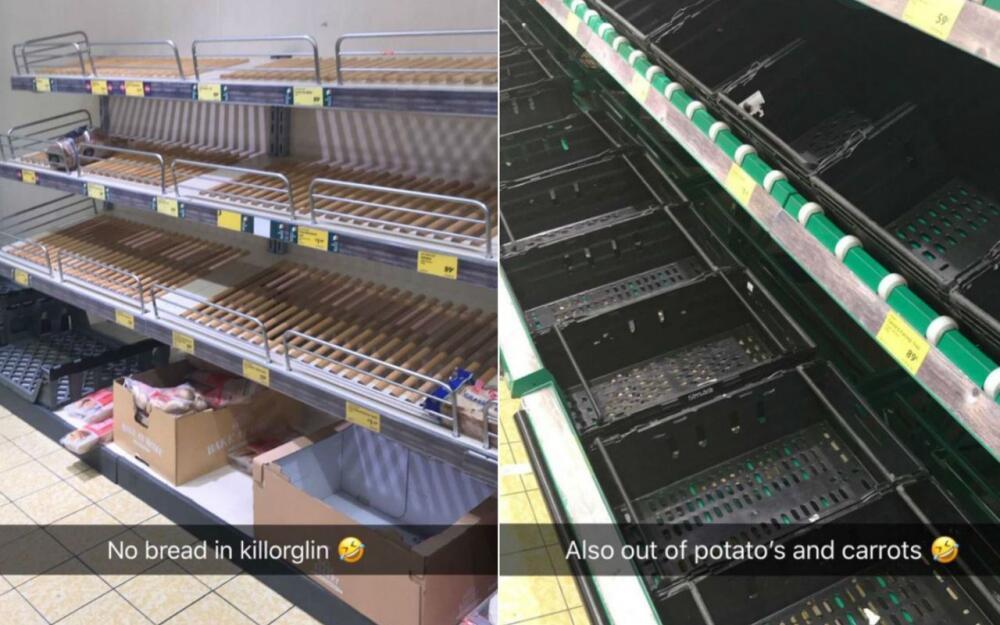 爱尔兰将迎冰雪天气 超市货架被抢购一空