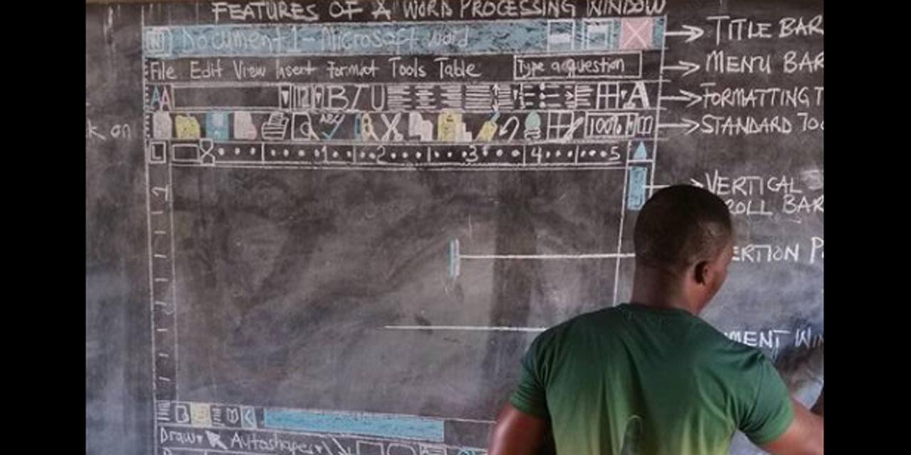 没有电脑怎么教word?加纳教师黑板手绘教学引关注