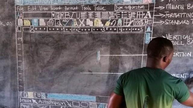 没有电脑没关系 加纳教师黑板上画出Word界面