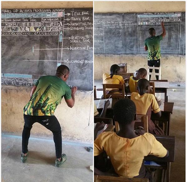 教学资源匮乏,加纳一名中学教师用板书教授学生IT技能