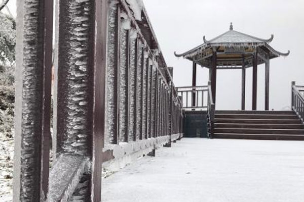 """湖北牛庄迎""""春雪"""" 银装素裹景色迷人"""