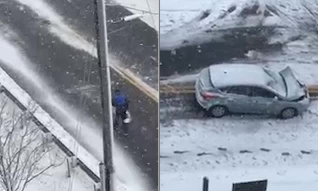 外卖小哥暴雪中撞坏汽车徒步爬山送餐