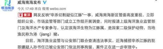 """3月8日下午,威海市南海新区管理委员会官方微博确认""""港(jiang)猪是江豚属"""""""