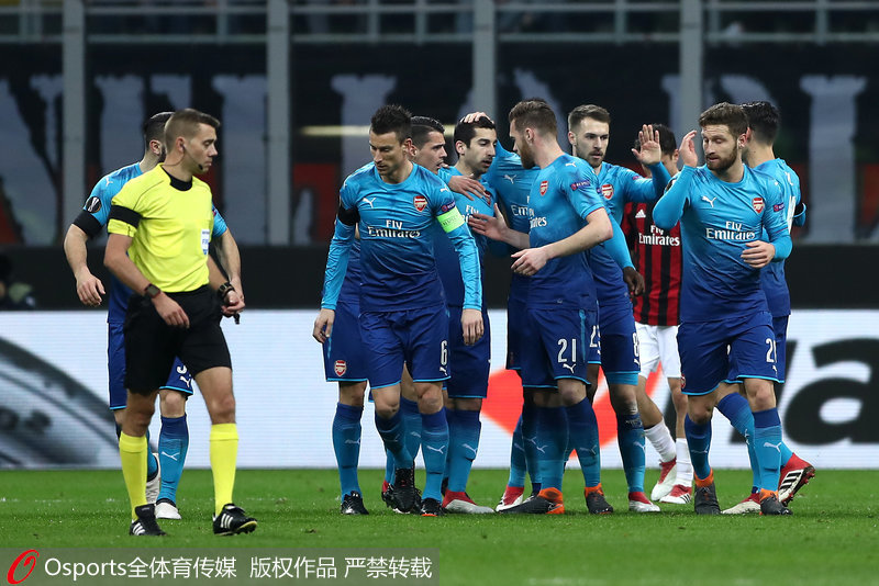 欧联杯-厄齐尔两助攻姆希塔良处子球阿森纳2-0胜米兰