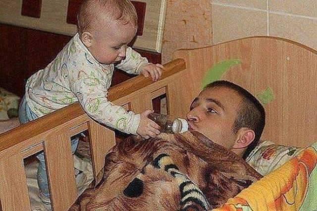 爸爸带孩子简直是灾难