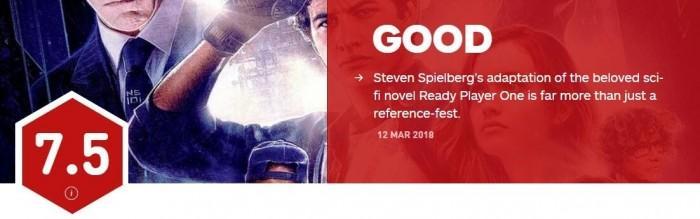 斯皮尔伯格《玩家一号》IGN评分7.5