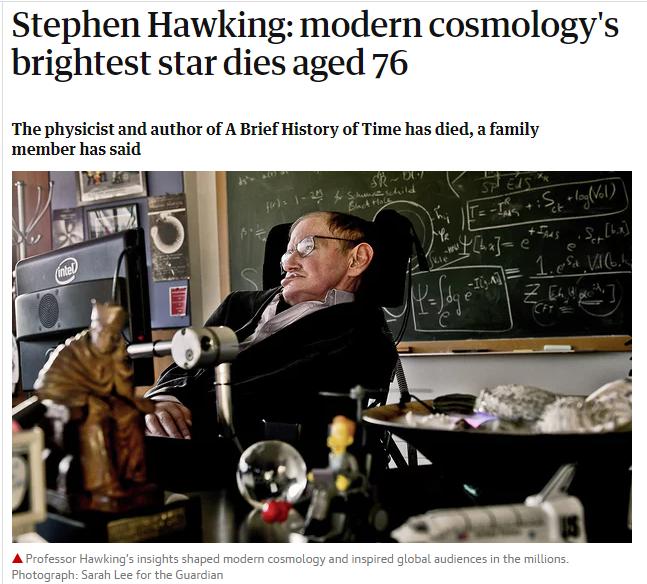 霍金去世 物理学家霍金去世享年76岁霍金去世了身后带着浩瀚的宇宙