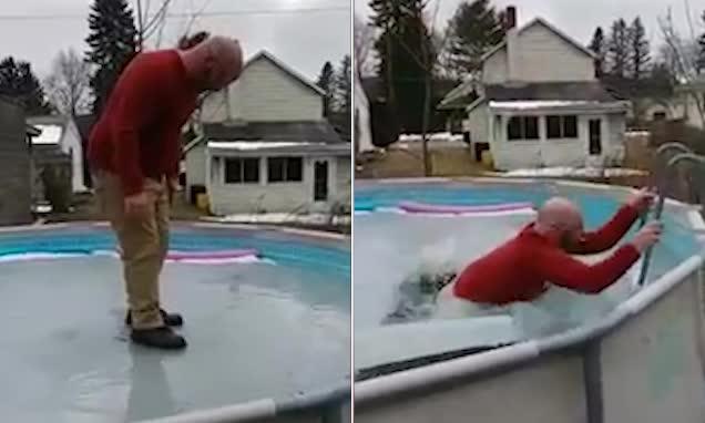 爆笑!美男子结冰泳池上行走掉入水中