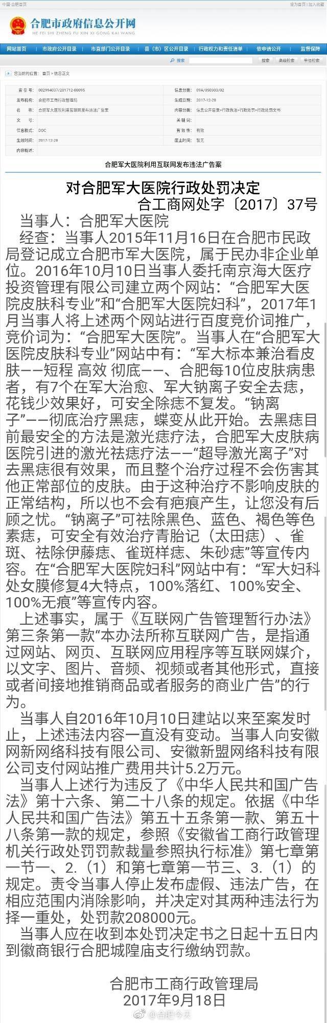 合肥市军大医院发布违法广告 被罚20.8万元