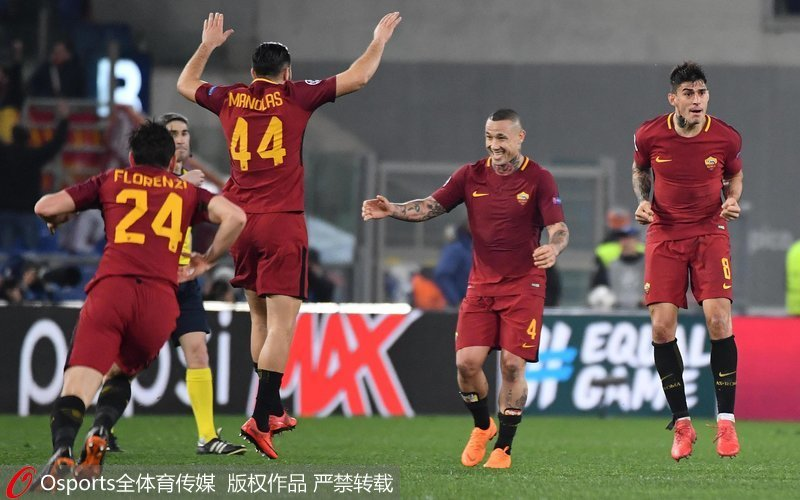 罗马队员庆祝胜利