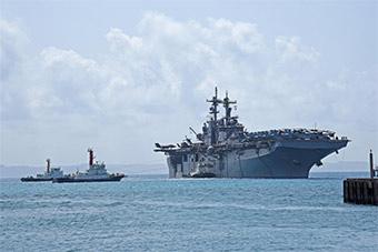 美军黄蜂号搭载F-35B从东海返回冲绳基地