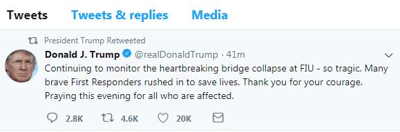 悲剧!美佛州过街天桥坍塌致多人死亡 特朗普:感谢勇敢的急救人员