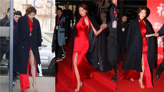 林志玲穿红裙亮相似新娘