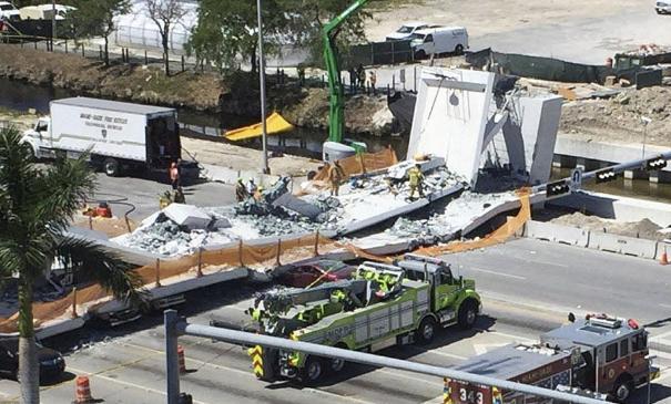 外媒:曾号称寿命100年?美天桥6小时建成5天后坍塌