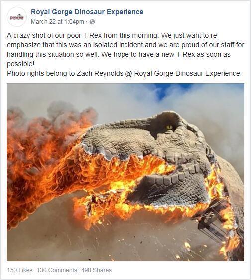 恐龙乐园现故障 电动霸王龙被烧得只剩一副骨架