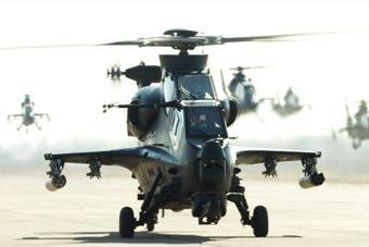 解放军武装直升机大机群在东南沿海演练