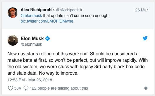 """马斯克: """"成熟Beta版""""Tesla Maps于周末上线"""