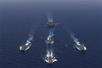 航母领衔美印联合海上演习气势浩大