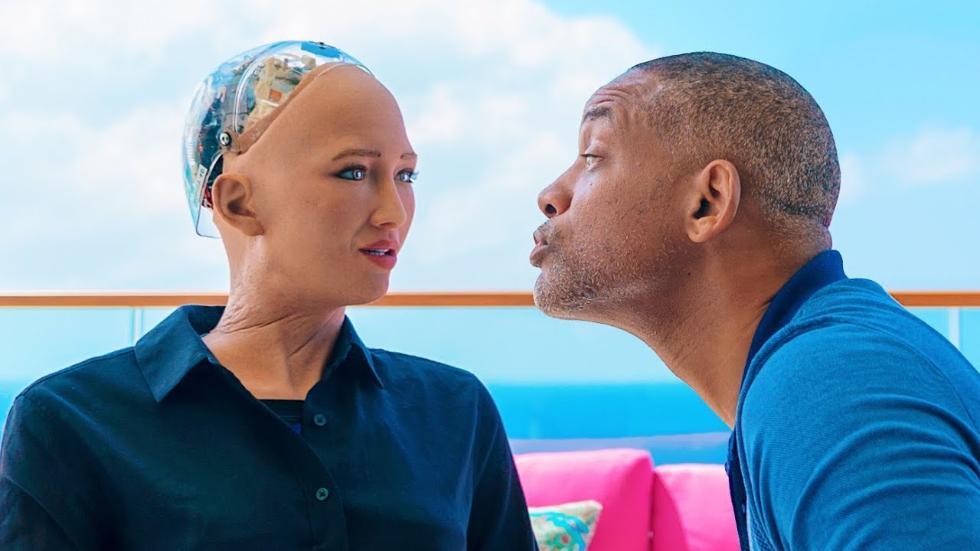 尴尬!影帝威尔·史密斯与机器人索菲亚约会