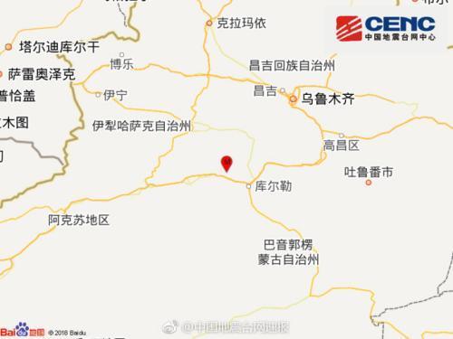 新疆库尔勒市发生4.2级地震 震源深度6千米(图)