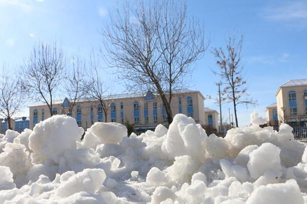 新疆北部迎强降雪 积雪厚度超10厘米