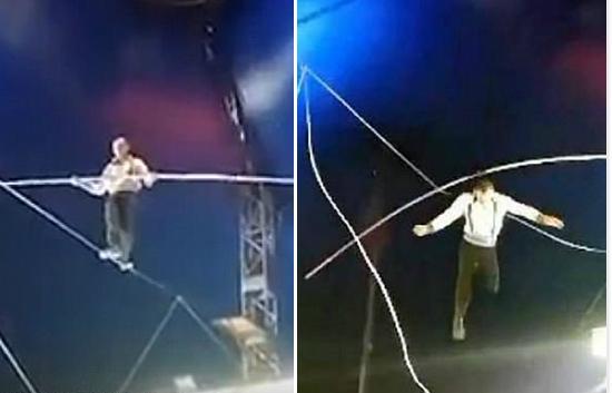 俄钢丝舞表演者8米高空坠落后继续表演