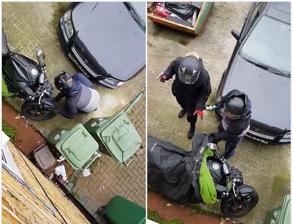 英盗窃团伙光天化日偷车被车主拍下全过程