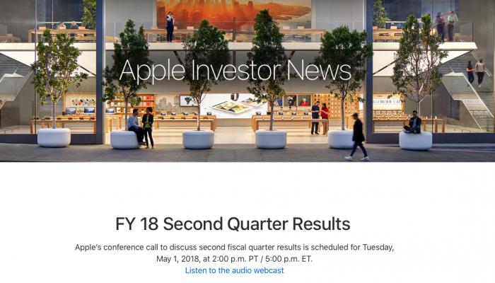 苹果将于5月1日公布2018 Q2财报