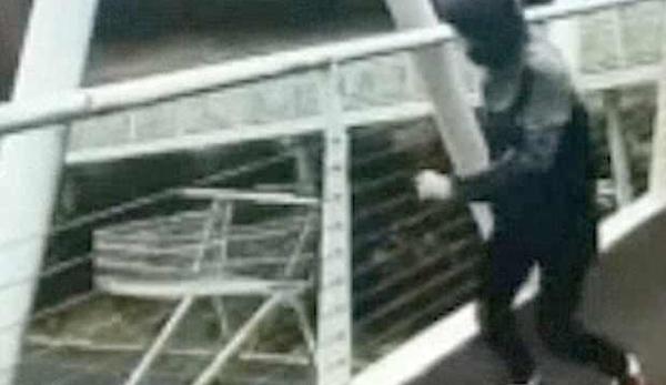 英少年恶意将超市手推车从7米高天桥上抛下