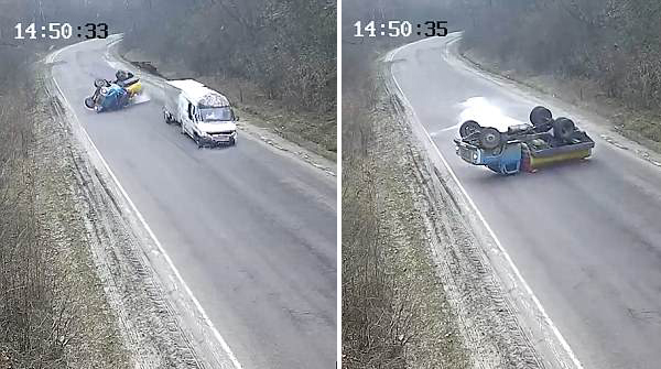 乌克兰一牛奶罐车翻倒摩擦起火牛奶洒满地