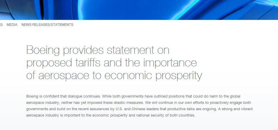 贸易战遭殃 波音急了:航空工业对中美都很重要