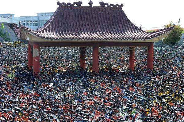 """武汉一空地现共享单车""""海洋"""" 凉亭被埋其中"""