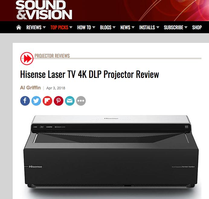 """美国专业网站发布评测:海信4K激光电视成""""首选产品"""""""